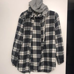 Flannel with hoodie! Size large